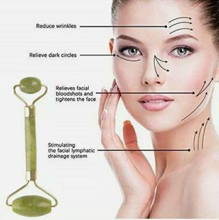 Natural Jade Guasha Facial Beauty Tool Jade Roller Face Thin Massager Massage