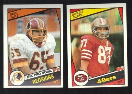 1985 Topps Football 2 different Cards - #379 Dave Butz & #351 Dwight Clark