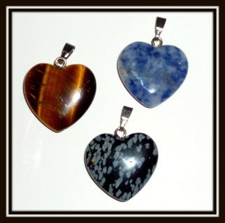 ❤️Tiger's Eye, Sodalite, & Snowflake Obsidian Natural Gemstone Heart❤️Shaped Pendants + GIN Bonus!❤️