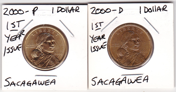 CIRCULATED 2000 P&D SACAGAWEA DOLLAR COINS
