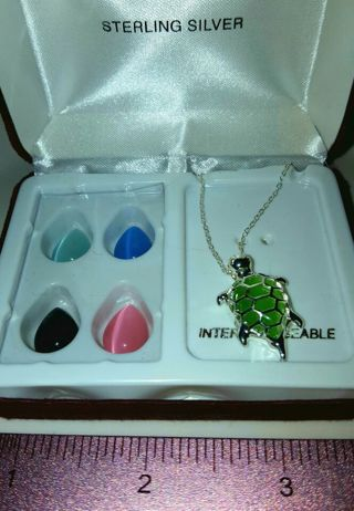 NIP 925 18 inch Turtle Necklace with 5 interchangeable Stones Cat Eye