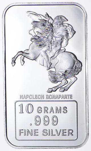 "One (1) 10 gram .999 Silver bar ""Napoleon"""