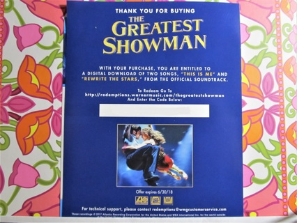Free: 'The Greatest Showman' Movie Musical Soundtrack Download Code
