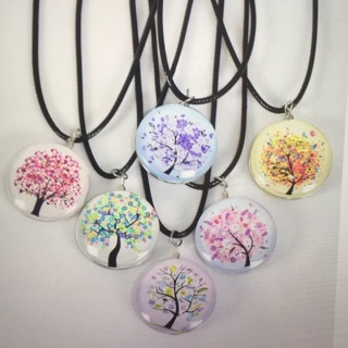 6 Pack Tree Of Life Double Sided Glass Dome Necklace Lot
