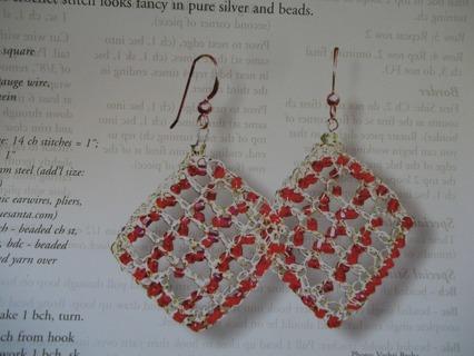 Free Crochet Filet Square Wire Earrings Pattern Crochet