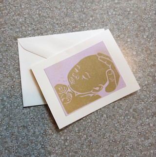 Handmade NEW BABY card, Gold Silksreened by local artist Mijia, Babe in Hand, unused, envelope