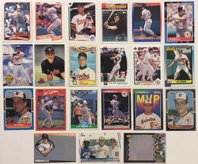 Cal Ripken Jr. Hall of Famer Baltimore Orioles Lot of 21 Baseball Trading Cards