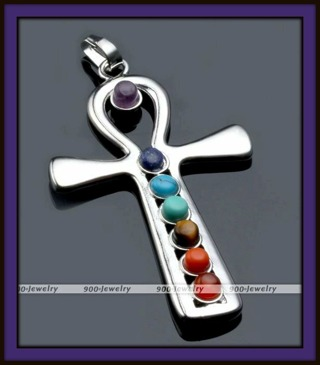 Nice Sized EGYPTIAN ANKH With 7-CHAKRA GEMSTONES Silver Plated Pendant, 56mm x 30mm, NEW!