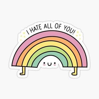 ANTISOCIAL I HATE ALL OF YOU RAINBOW VULGAR MATTE VINYL STICKER