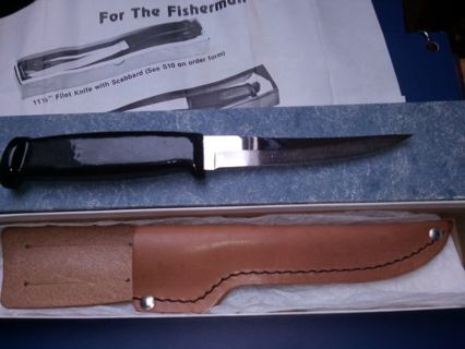 """BRAND NEW-. RADA MFG CO.(8-1//2 """") PAN FILET KNIFE.WITH LEATHER SCABBARD..HEAVY KNIFE."""