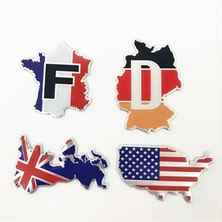 [GIN FOR FREE SHIPPING] 3D US American Metal Flag Map Shaped Car Sticker Fender Badge