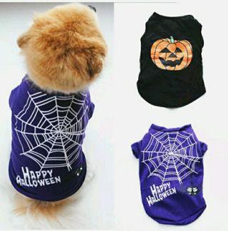 Halloween Pumpkin Dog Clothes Puppy Sleeveless Shirt Fashion Pet T-Shirt Costume