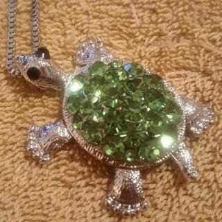 Our newest line of jewelry silver green turtle sweater pendant necklace