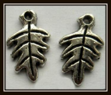 2 (TWO) pc SET! LEAF LEAVES Tibetan Silver Charms, Pendants, 15mm x 10mm, Brand NEW!