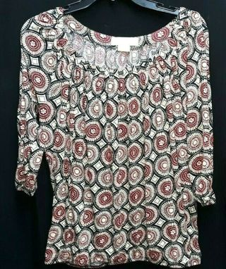 MICHAEL KORS Pretty Wide neck floral stretchy tunic top shirt, Womens Medium