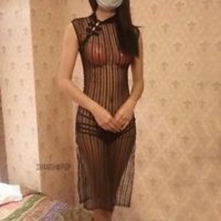 NEW WOMEN'S SMALL BLACK TRANSPARENT HIGH-SLIT SHEER SLEEVELESS CHEONGSAM STRIPED DRESS