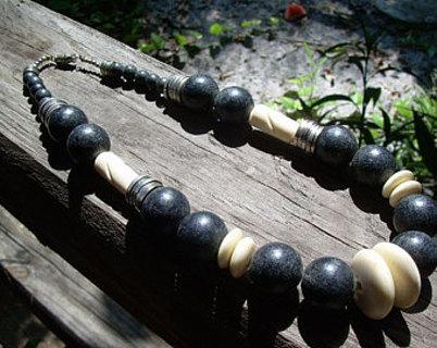 Rare~Vintage Ethnic Bone Necklace Unique find