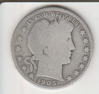 1905-O Silver Barber Half Dollar