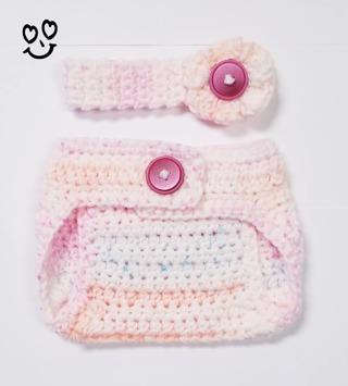 Crochet Newborn Girl Photography Outfit Crochet Baby Diaper Cover & Headband