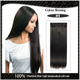 """New Women Seamless Five Clips Piece Straight Hair Extensions Long 61cm/24"""" 120g Color #1"""