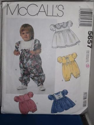 MCCALLS 5657 INFANTS JUMPSUIT & DRESS SEWING PATTERN SZ S-M-L