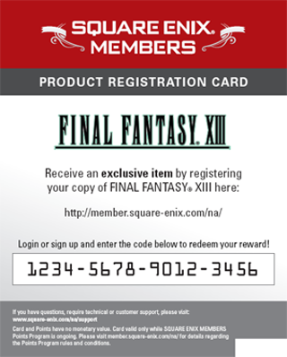 Free: Square Enix Product Registration Code- Final Fantasy XIII