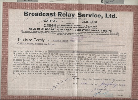 Broadcast Relay Service stock certificate 1958 Great Britain