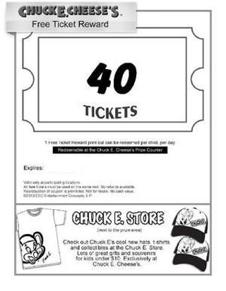 For More Chuck E Cheese Printable Coupons Free Tickets, Tokens, and More. There's a FREE Chuck E Cheese app for both iPhones and ipads as well as Android devices. With Party Galaxy you can earn real free Chuck E Cheese tickets anywhere, anytime! Download the Chuck E Cheese Free App, Party Galaxy on the app store.