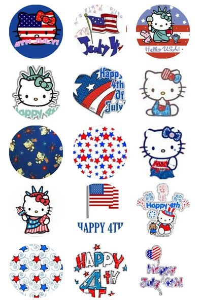 Free hello kitty 4th of july bottle cap images 4x6 for Hello kitty 4th of july coloring pages