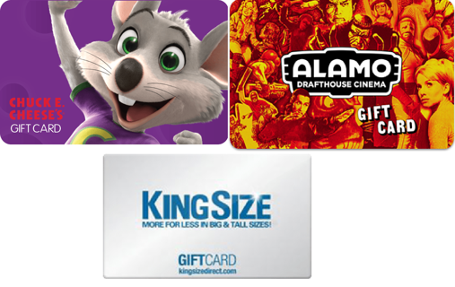 GIFTCARD LOT $80.58 TOTAL GIFT CARD AMOUNT CHUCK E CHEESE KINGSIZE ALAMO DRAFTHOUSE FREE SHIPPING