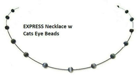 necklace cats eye Express lobster claw clasp gunmetal black pendant bead NWT