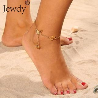 Bells Butterfly Pendant Anklets Foot Chain Summer Yoga Beach Leg Bracelet Anklet Rose Gold Color