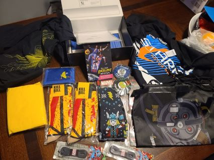 Loot Crate left overs, XL t-shirts, Socks Pins and more
