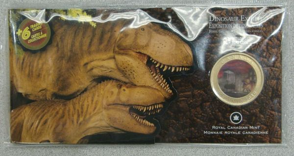 Canada 2010 Dinosaur Exhibit 50 Cent Coin & Trading Cards Sealed Package