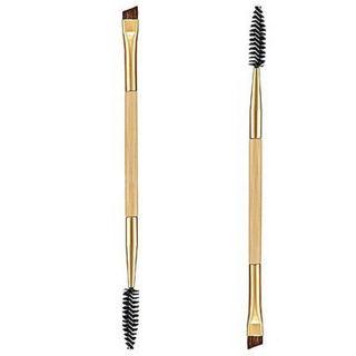 Pro Makeup Tools Bamboo Handle Double Eyebrow Brush + Eyebrow Comb Brushes New