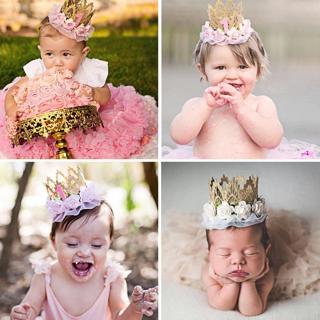 Newborn Baby Girl 1st Birthday Party Flower Princess Crown Headband Photo Props