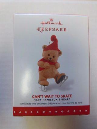 "NEW - $17.95 Retail ~ Hallmark Keepsake ""Can't Wait to Skate"" Bear Skating 1st in Hamilton Series"