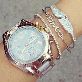 3 Pcs/ Set Retro Charm Leaf Letter Love Crystal Adjustable Silver Bracelet Set Women Shiny Fashion