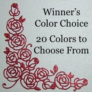 "Winner's Choice: 3"" Glitter Silk Rose Corner Die Cut"