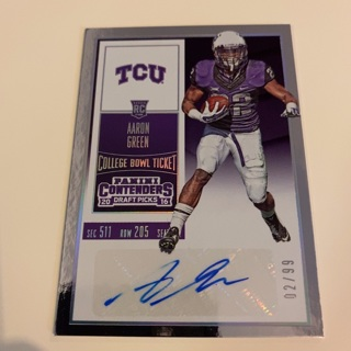2016 Contenders Aaron Green College Bowl Ticket Autograph Rookie Card