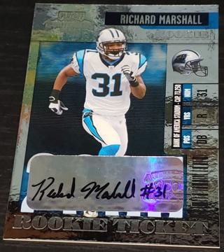 Richard Marshall 2006 Playoff Contenders Rookie Ticket Autograph #171 Carolina Panthers