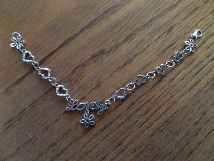New! Lovely! Pretty Tibetan silver hearts and flowers bracelet