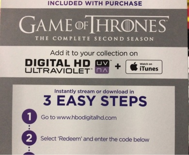 Game of Thrones Season 2 UV digital copy