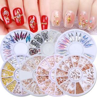 3D Nail Rhinestones Glitter Studs Crafts Nail Art Decoration Wheel Gems Rivets