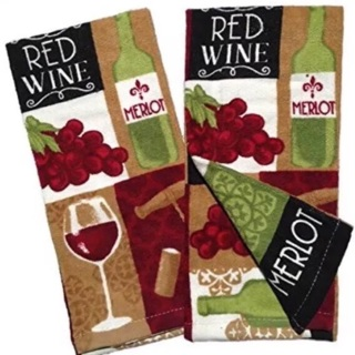 Wine Themed Kitchen Towel Set with Red Wine & Grapes Velour Hand Towels -So Soft!