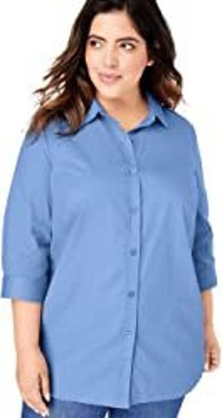 Woman Within Women's Plus Size Printed Three-Quarter Sleeve Perfect Shirt Size 5X
