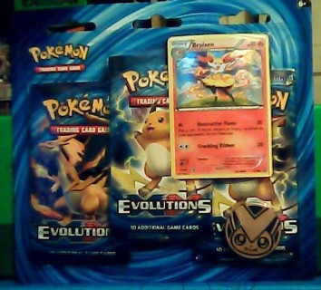 Pokemon Evolutions 3 Pack Blister W/ Promo Braixen+Coin New Factory Sealed 2016