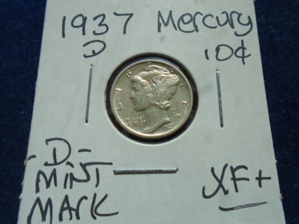 XF+ 1937-D MERCURY DIME -D- MINT MARK!