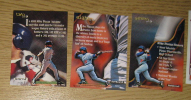 Free 1996 Mike Piazza Rembrandtultra Pro Three Card Lot