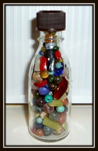 Vintage Bottle of Crystal & Gemstone Beads!